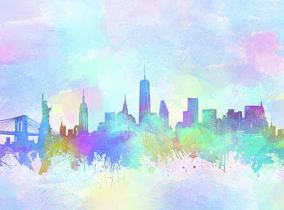 Skylines Royalty-Free and Rights-Managed Images - New York Skyline Watercolor 7 by Bekim Art