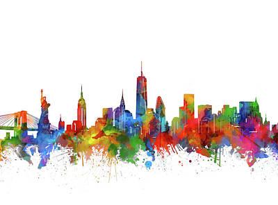 Cities Digital Art - New York  Skyline Watercolor by Bekim Art