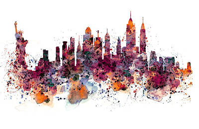 Skyline Mixed Media - New York Skyline Watercolor by Marian Voicu