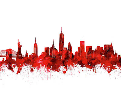 Cities Royalty-Free and Rights-Managed Images - New York Skyline Waterocolor Red by Bekim Art