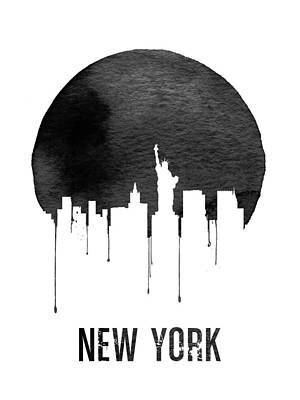 Manhattan Wall Art - Digital Art - New York Skyline White by Naxart Studio