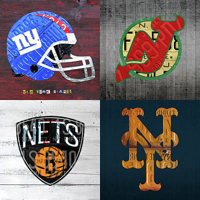 Net Mixed Media - New York Sports Team License Plate Art Collage Giants Devils Nets Mets V3  by Design Turnpike