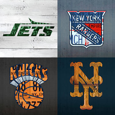 Jets Mixed Media - New York Sports Team License Plate Art Collage Jets Rangers Knicks Mets V2 by Design Turnpike