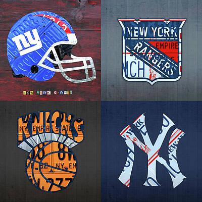 New York Sports Team License Plate Art Giants Rangers Knicks Yankees Art Print