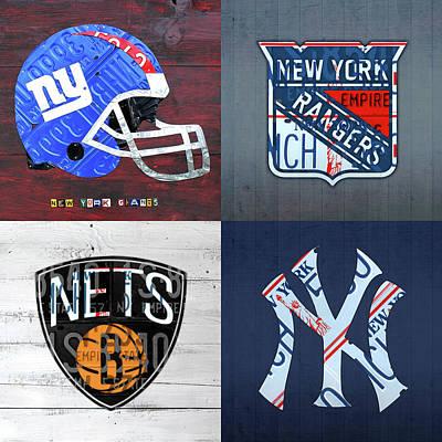 New York Rangers Mixed Media - New York Sports Team License Plate Art Giants Rangers Nets Yankees V4 by Design Turnpike