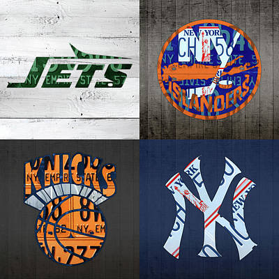 Knicks Mixed Media - New York Sports Team Logo License Plate Art Jets Islanders Knicks Yankees V5 by Design Turnpike