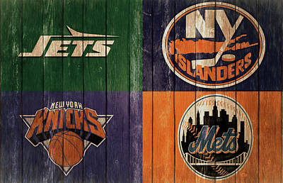 Mixed Media - New York Sports Teams Barn Door by Dan Sproul