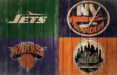 City Scenes Mixed Media - New York Sports Teams Barn Door by Dan Sproul