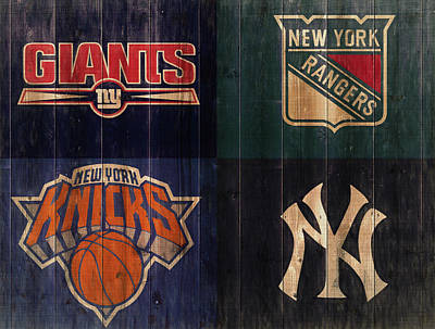 City Scenes Mixed Media - New York Sports Teams Rustic Wood by Dan Sproul