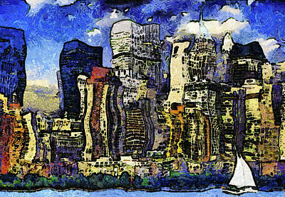 New York Stary Night Expressionism Art Print by Georgiana Romanovna