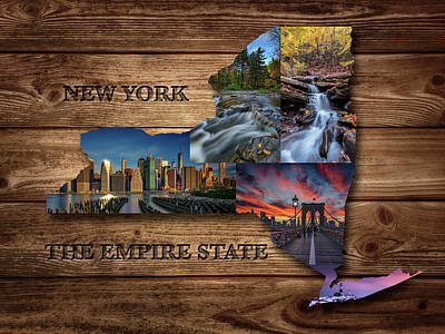 Photograph - New York State Map Collage by Rick Berk