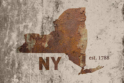 New York State Mixed Media - New York State Map Industrial Rusted Metal On Cement Wall With Founding Date Series 001 by Design Turnpike