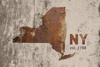 Nyc Mixed Media - New York State Map Industrial Rusted Metal On Cement Wall With Founding Date Series 025 by Design Turnpike