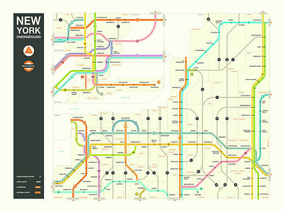 County Map Digital Art - New York State Overground by Jazzberry Blue