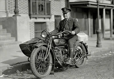 Photograph - New York State Police Motorcyle Officer C. 1923 by Daniel Hagerman