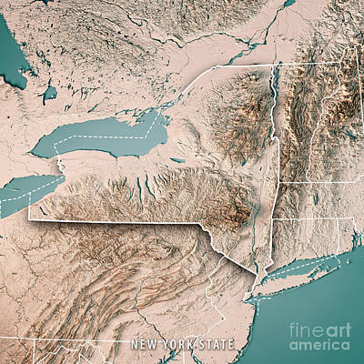 Finger Lakes Digital Art - New York State Usa 3d Render Topographic Map Neutral by Frank Ramspott
