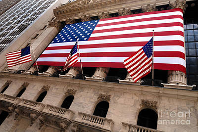 New York Stock Exchange American Flag Art Print by Amy Cicconi