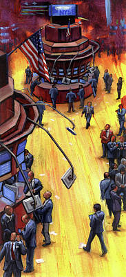 Art Print featuring the painting New York Stock Exchange by Lesley Spanos