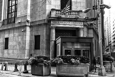 Side Entrance Photograph - New York Stock Exchange Side Entrance Mono by John Rizzuto