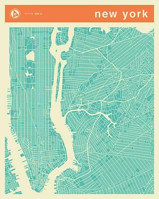 City Digital Art - New York Street Map by Jazzberry Blue