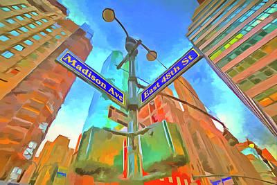Photograph - New York Street Sign Pop Art by David Pyatt