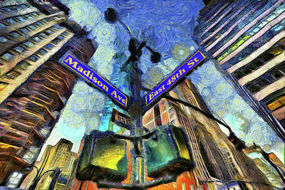 Photograph - New York Street Sign Van Gogh by David Pyatt