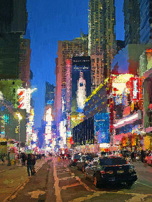 Digital Art - New York Streets Night Light 1 by Yury Malkov
