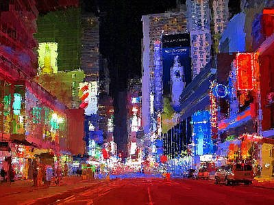 Digital Art - New York Streets Night Light 2 by Yury Malkov