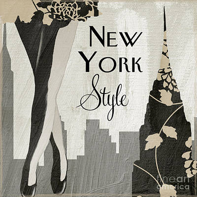 Manhattan At Night Painting - New York Style II by Mindy Sommers