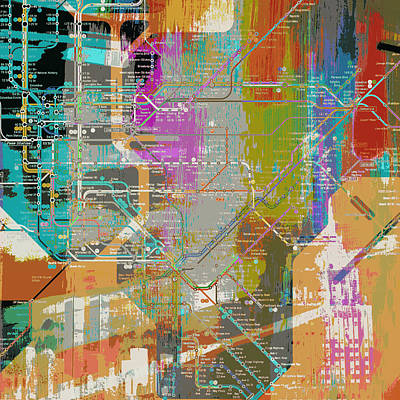 Empire State Building Mixed Media - New York Subway Map by Brandi Fitzgerald