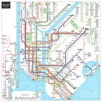 Photograph - New York Subway Map by Doc Braham