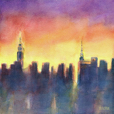Empire State Building Painting - New York Sunset After The Rain by Beverly Brown Prints