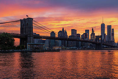 Photograph - New York Sunset by Christopher Villandry