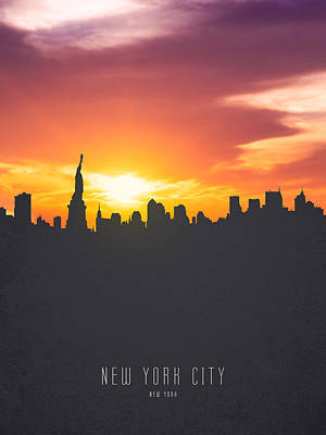 Cities Royalty-Free and Rights-Managed Images - New York Sunset Skyline 01 by Aged Pixel