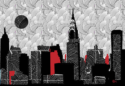 Empire State Building Mixed Media - New York City Skyline Swing  by Cecely Bloom