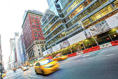 Photograph - New York Taxi Street Scene by David Pyatt