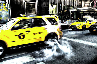 Photograph - New York Taxis Sketch by David Pyatt