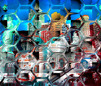 Building Exterior Digital Art - New York Through Glass Wall by Yury Malkov