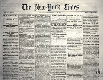 New York Times, 1864 Art Print