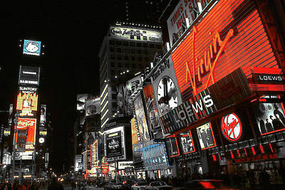 Photograph - New York Times Square Night by Art America Gallery Peter Potter
