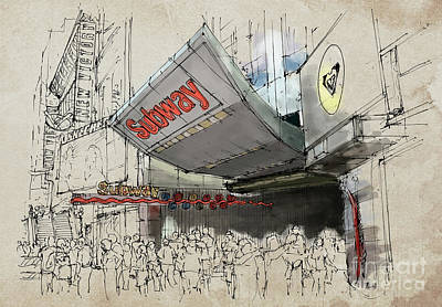 Times Square Drawing - New York Times Square Subway Sketch by Pablo Franchi