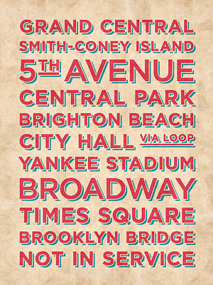 Metro Art Digital Art - New York Train Stations Retro Vintage - Red On Cream by Ivan Krpan