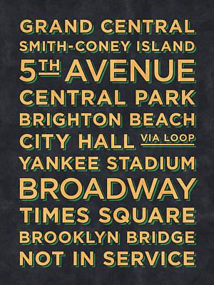 Metro Art Digital Art - New York Train Stations Retro Vintage  - Yellow On Black by Ivan Krpan