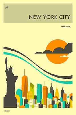 New York City Skyline Digital Art - New York Travel Poster by Jazzberry Blue