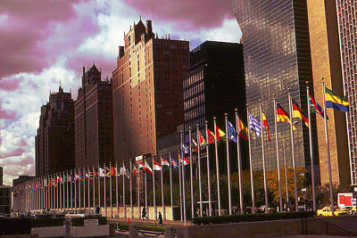 Photograph - New York - United Nations Flags by Peter Potter