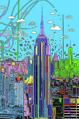 Skylines Royalty-Free and Rights-Managed Images - New York Urban Colors by Bekim Art