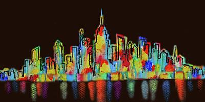 New York City Skyline Cityscape Night View Art Print by Leon Zernitsky