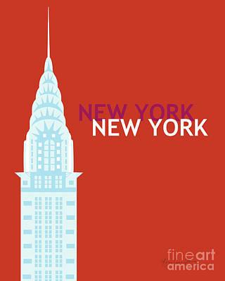 Chrysler Building Digital Art - New York Vertical Scene - Chrysler Building by Karen Young