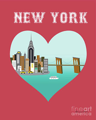 Chrysler Building Digital Art - New York Vertical Skyline - Heart by Karen Young