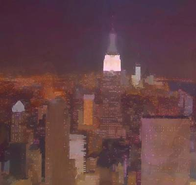 Skylines Paintings - New York View Top Of The Rock  by Dan Sproul